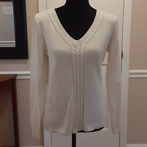 Talbots Pima Cotton White Sweater